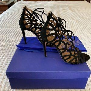 Authentic Aquazzura black tie up sandals size 37.